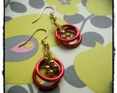 Red Jump Ring and Brass Flower Earrings