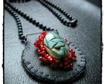 Black Leather Scarab and Flame Necklace
