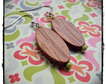 Wooden Bead and Bright Green Earrings