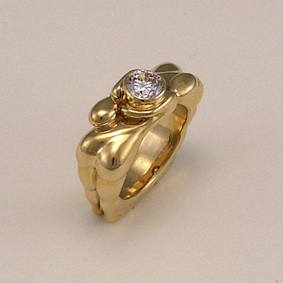 Unique Wedding Ring Moissanite Engagement Ring Artisan Designer