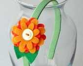 Felty Blossoms Headband - Orange Tart