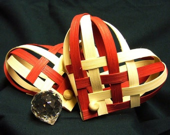 Hand Woven Red and White Nordic Heart