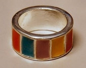 1969 Vintage Hippie Colors Wedding Band Ring