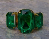 1960s Emerald Shaped Faux EMERALD Adjustable Ring NICE