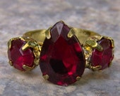 1960s Pear Shaped Faux RUBY Adjustable Ring NICE