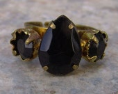 1960s Pear Shaped Faux ONYX Adjustable Ring NICE