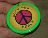 1974 Hippie Nixon WORK FOR PEACE Pendant and 28 inch Necklace