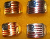 VERY RARE 1950s Korean War Tin US Flag Ring in Gold