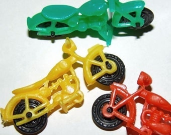 Set of Three 1960s FAMOUS Motorcycles Plastic ACTION TOY