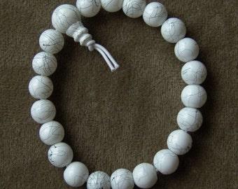 1984 Hand-Made Glass Beaded Bracelet WHITE MARBLE