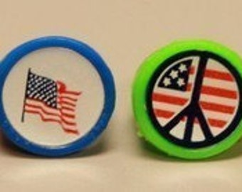 1960's Peace Love Sticker Ring Set of FOUR