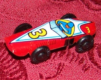1960s Japanese Tin RACE CAR in Mint Condition No 3 RED
