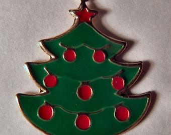 1970s Enamel Christmas X-MAS TREE Pendant or Charm