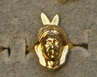 1950s Rare GOLD Indian Ring Scout TWO FEATHER