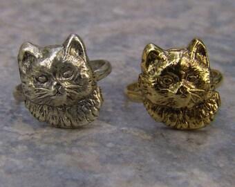1960s-70s Metal Gum Machine Cat Face 5 Toy Ring FUR COLLAR