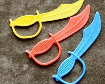 1960s Pirates of Caribbean Plastic Sword Set of 3