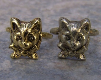 1960s-70s Metal Gum Machine Cat Face 6 Toy Ring BOWTIE KITTY