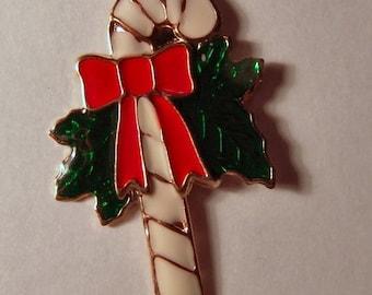 1970s Enamel Christmas CANDY CANE Pendant or Charm