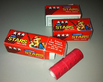 3 BOXES of Vintage 1975 Three Star Cap Gun Caps Mint in Boxes 750 Total Shots