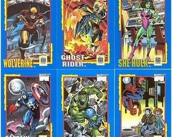 1991 Set of 6 MARVEL Trading Cards from IMPEL Limited Edition