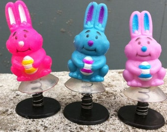 Set of THREE 1970s Easter Bunny Spring Jumper ACTION Toys