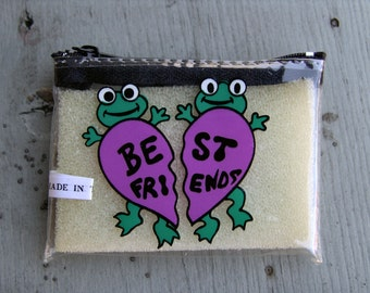 1970s Novelty Purse with BEST FRIENDS FROGS Design