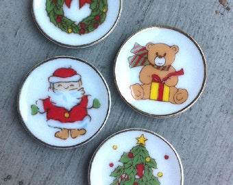 4 Piece Set of 1950s X-Mas Promotional Porcelain Childrens Mini Plate Made in JAPAN