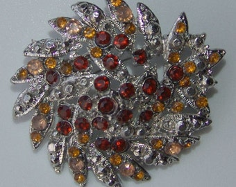 Vintage 1950s Rhinestone Brooch PIN WHEEL in Amber