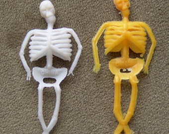 TWO 1970s Plastic SKELETON Gum Machine Toys