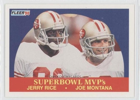 1990 Fleer Football Card Joe MONTANA and Jerry RICE superbowl MVPs