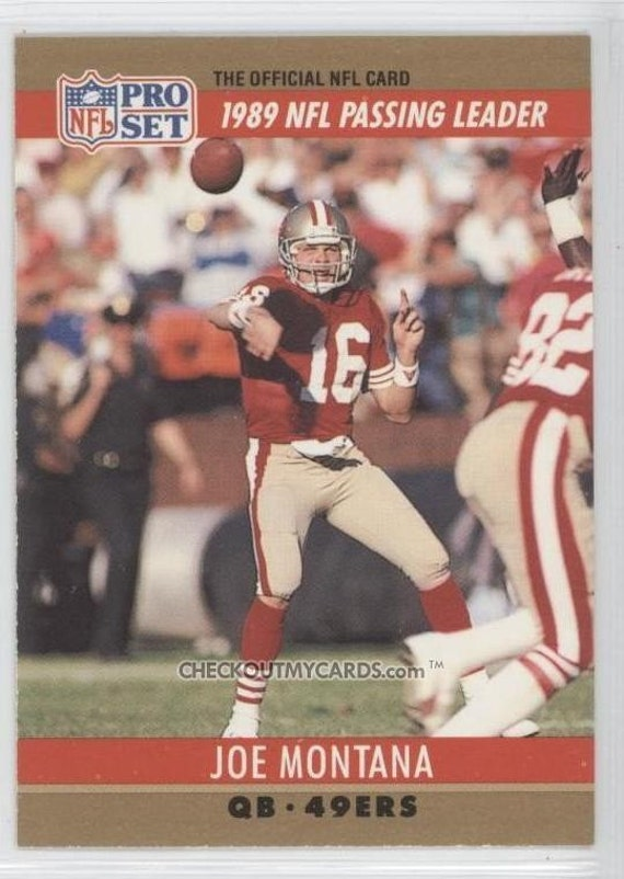 OFFICIAL NFL Football Card 1990 JOE MONTANA 1989 Passing Leader