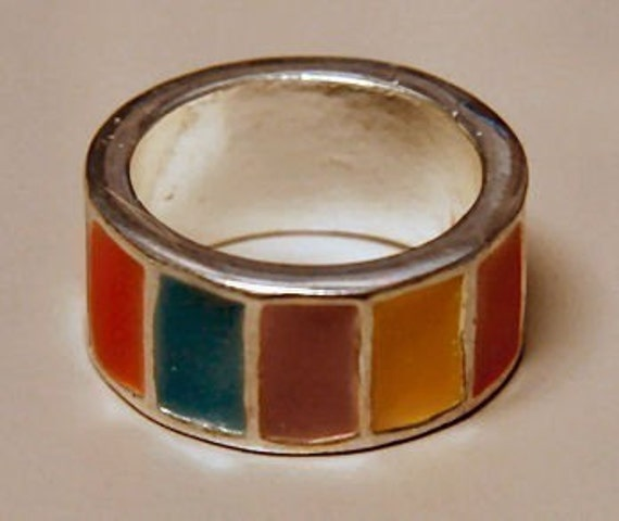 hippie wedding rings 1969 vintage hippie colors wedding band ring 4803
