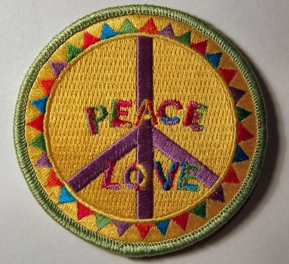 1960s-70s Hippie Peace Movement PEACE LOVE TRIANGLE Patch 3 inch