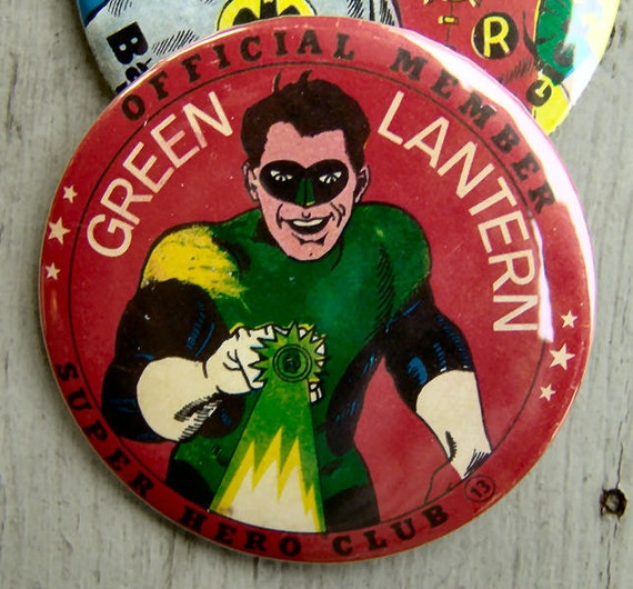 1966 Green Lantern OFFICIAL CLUB MEMBER Button 3 inches