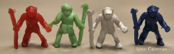 1950s Cracker Jack Plastic Cave Man Set of 3 RARE