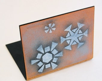 Enamel on Copper Bookend with Snowflakes by Robert Wuersch