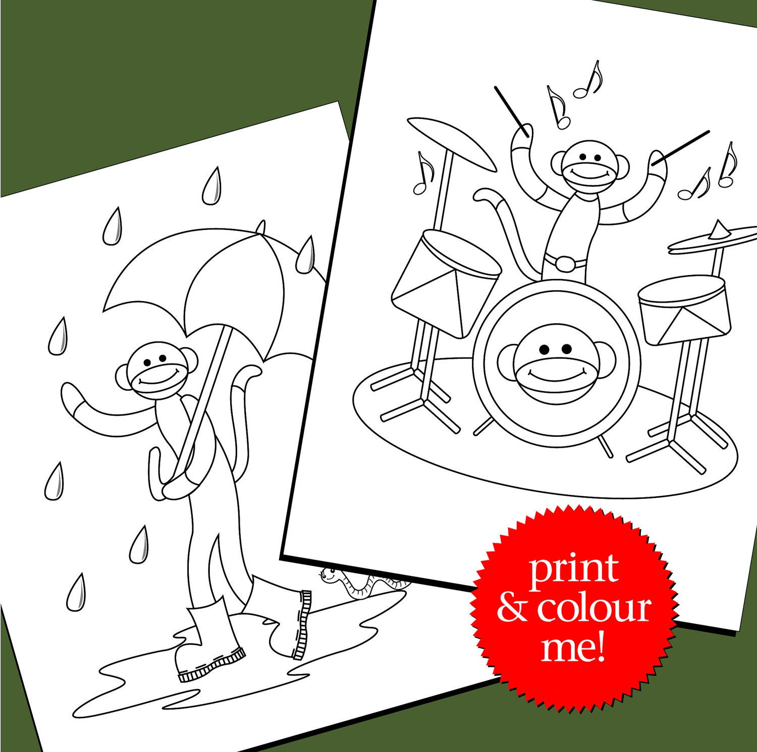 Cute Sock Monkey Coloring Pages Colouring pages sock monkeying around ...