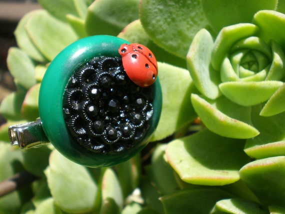 Lady Bug Button Clip and Brooch