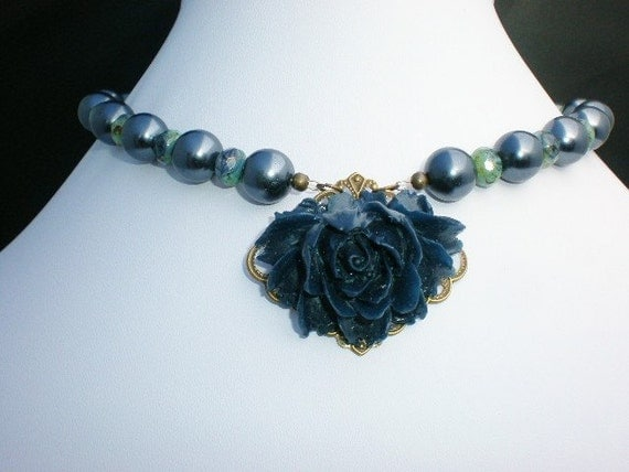 Gypsy Blue Rose Pearl Glass Necklace