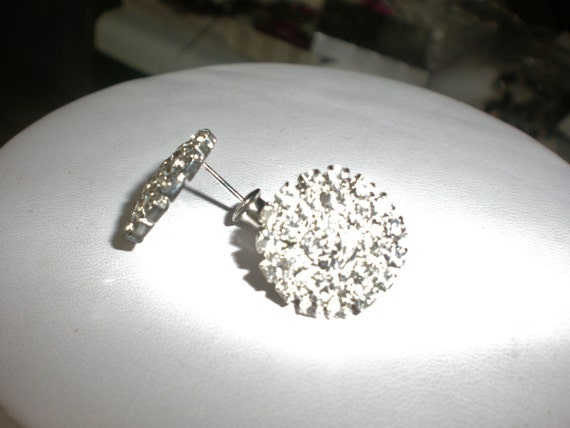 Vintage Post Earrings Clear Crystal
