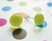Fused Glass Earrings - Lime Green