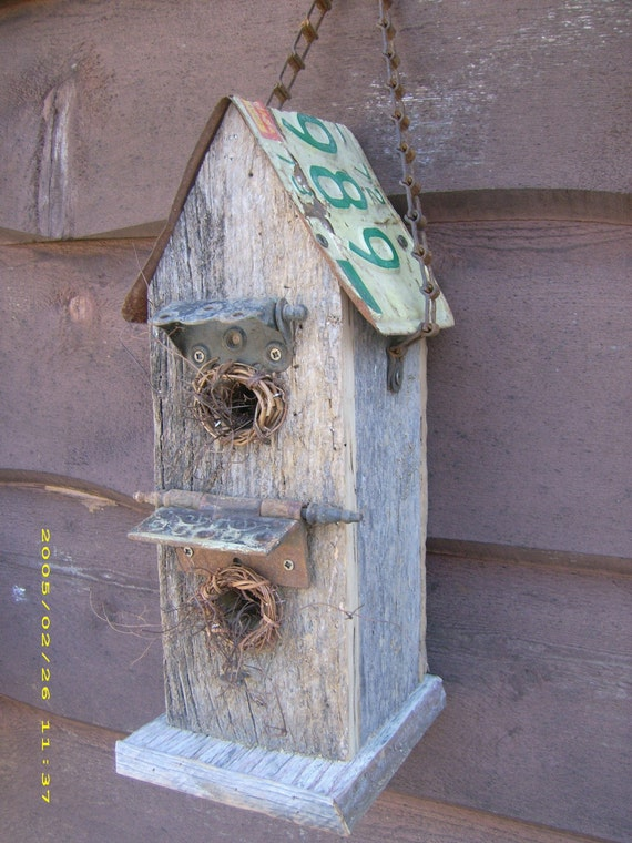 Barn Wood Bird House With License Plate Roof