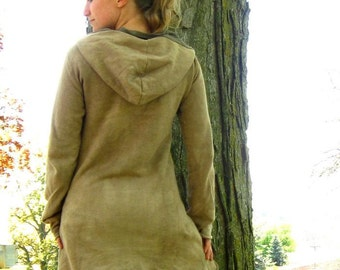 Organic Fleece Hooded Dress - Custom Made to Order - You Pick Color