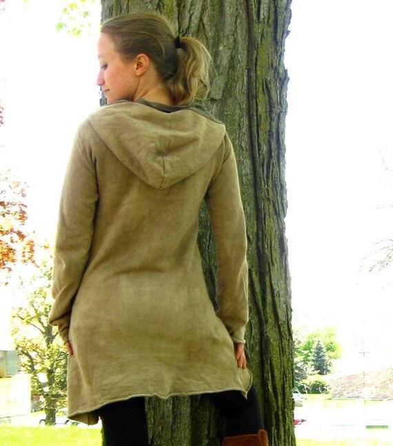 Organic Fleece Hooded Dress - Custom Made to Order - You Pick Color