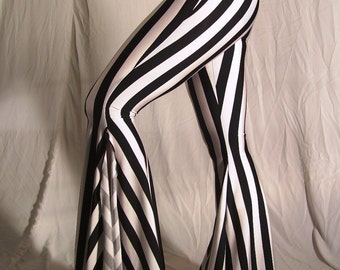 "Flare tribal pants - black and white 1"" stripes - YOUR SIZE"