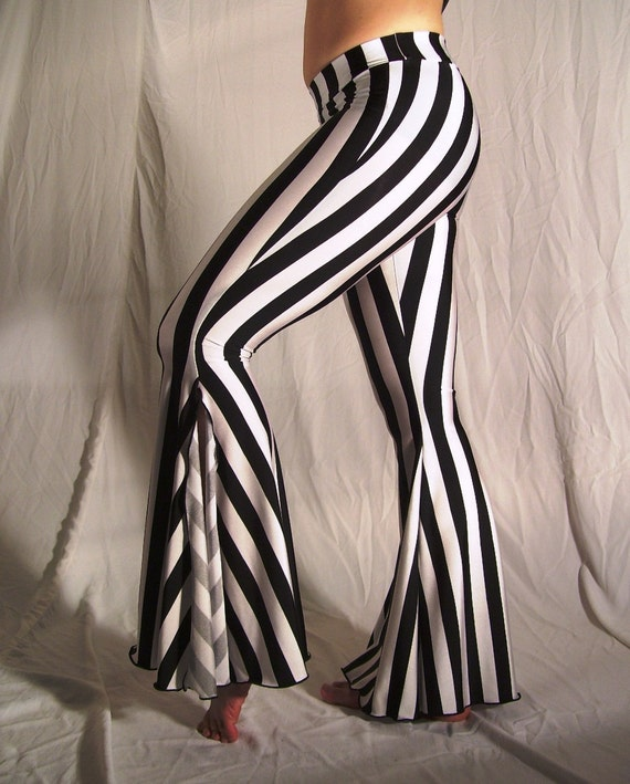 """Flare tribal pants - black and white 1"""" stripes - YOUR SIZE"""