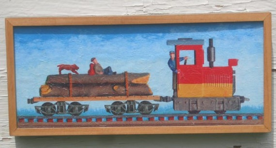 Train Wall Art - Framed textured Print - Log Train with Hobo and Dog - narrow gauge O scale