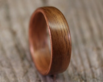 Bentwood Ring - French Walnut Wooden Ring - Tapered - Handcrafted Wood Wedding Ring - Custom Made