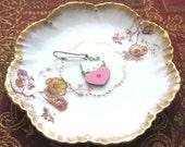 Pink Heart Kitty Cat with Rhinestones Zipper Pull Purse Charm Keychain