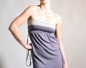 SALE - Bandeau-summer dress with bone-lace detail in Grey